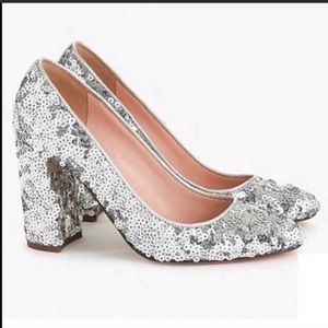 J.Crew Sequin Silver Pumps Shoes Sparkly Heel New